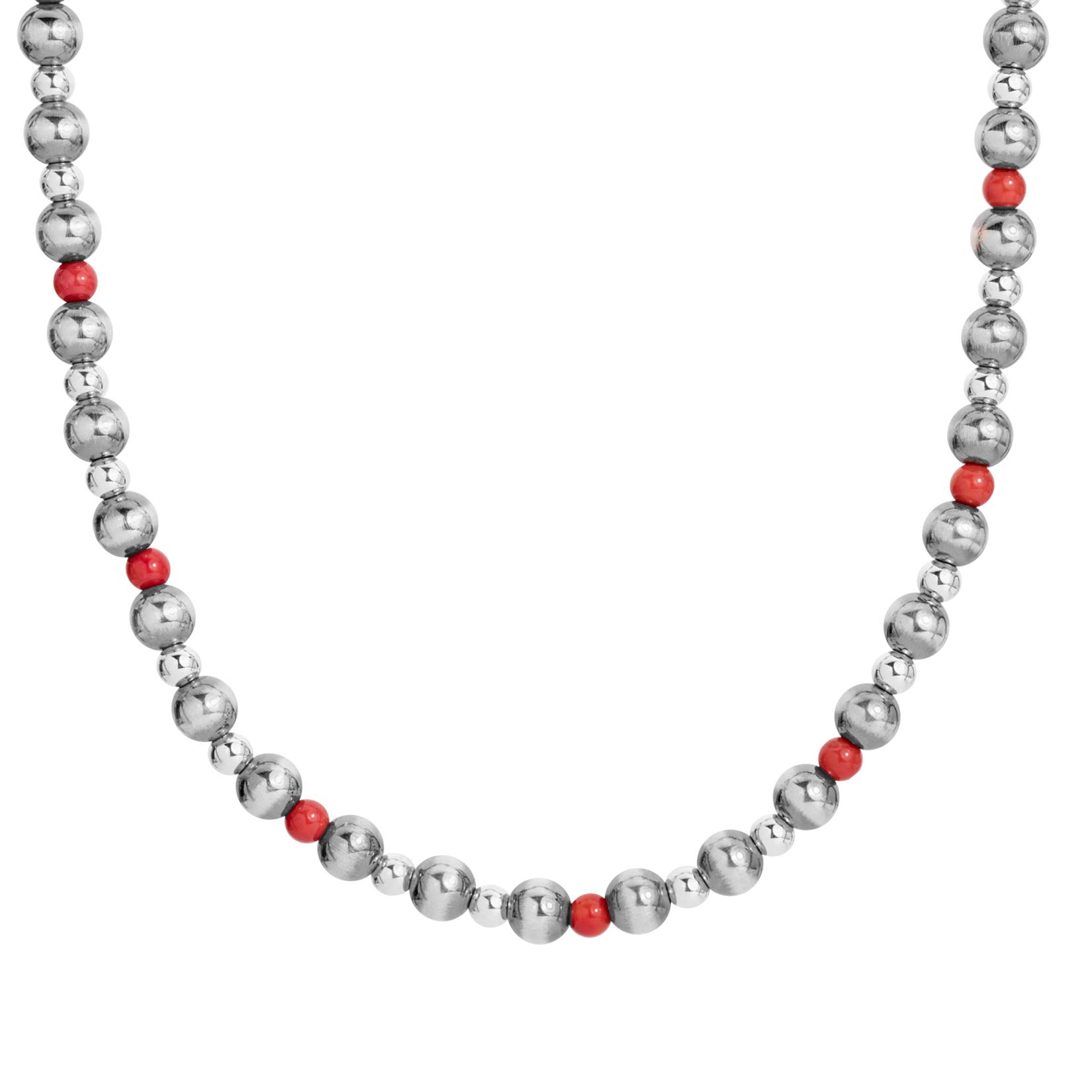 American West Sterling Silver Red Coral Gemstone Beaded Necklace 15 to 17 Inch