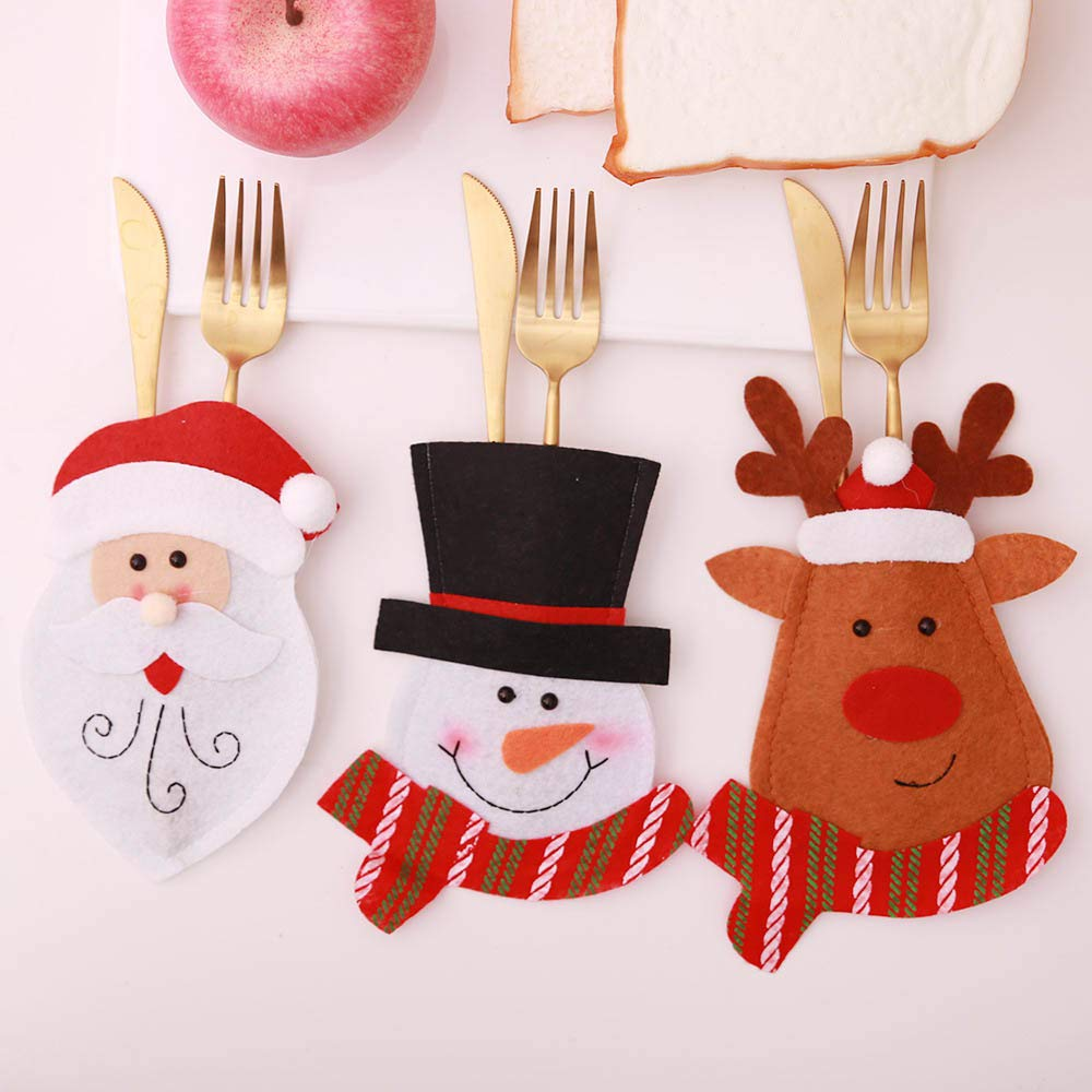 6Psc/Set Christmas Tableware Decoration Supplies Knife And Fork Set Party Hotel Banquet Scene Layout Mini Santa Hats (Random)