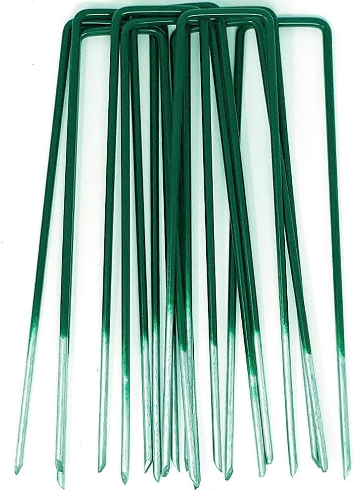 GardenPrime 100 unidades de Grapas en forma de U de 2.8 mm para Jardín, Césped Artificial, Telas y Mallas - Mitad de Color Verde - Metálicas - Galvanizadas Sumergidas en Calor (100)