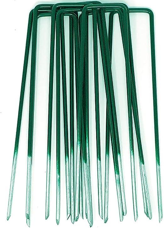 GardenPrime 50 unidades de Grapas en forma de U de 2.8 mm para Jardín, Césped Artificial, Telas y Mallas - Mitad de Color Verde - Metálicas - Galvanizadas Sumergidas en Calor (50): Amazon.es: Jardín