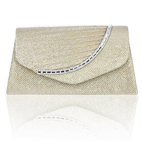 Lady Crystal Studded Gold Damara Purse Small Glitter Party Afnqdnwxp4