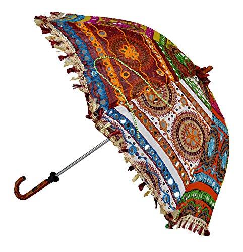Handmade Embroidery Work Design Cotton Tote Umbrella Open And Close 24 X 28 Inches