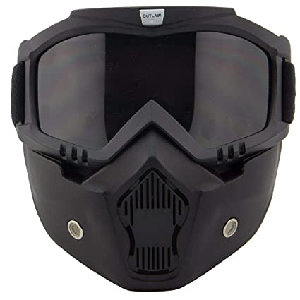 5798134ce020e3 Amazon.com  Outlaw 50 Nemesis Vintage Face Mask with Detachable Motorcycle  Goggles and UV 4 - One Size  Automotive