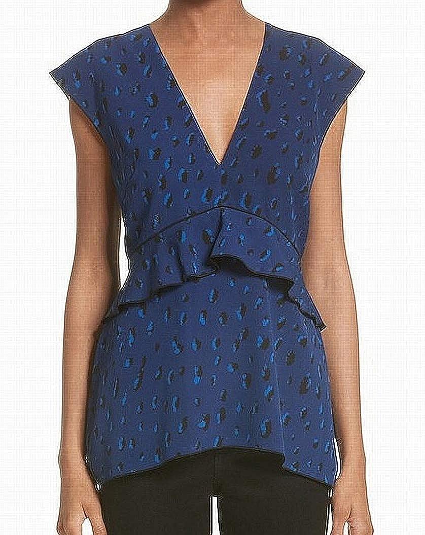 Proenza Schouler Animal Sleeve Women's Blouse Silk bluee 0