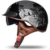 VCOROS Motorcycle Half Helmet Sun Visor Quick Release Buckle DOT Approved Half Face Cycling Helmets for Men Women
