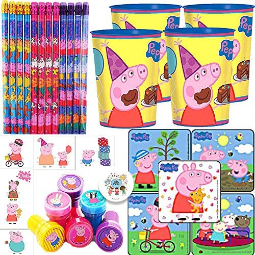 Peppa Pig Birthday Party Favor and Goodie Bag Filler Pack For 12 With Peppa Favor Cups, Stickers, Tattoos, Stampers