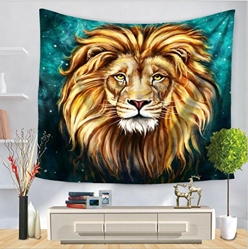 Embroidered Tapestry Fabric Wall Hanging (LOUHO Art Lion Wall Tapestry Hanging - Polyester Fabric Wall Art Tapestries Home Decor - 51