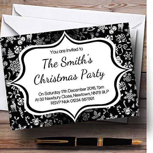 productos creativos 150 Invitations Negro y Plata Classique personaliseitonline – invitaciones para para para fiesta de Navidad  entrega de rayos