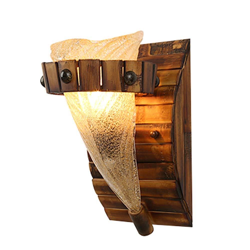 14 * 25 * 19CM E27 Lampenfassung Amerikanische Retro-Wandleuchte aus massivem Holz Industriestil kreative Pers/önlichkeit Restaurant Gang dekorative Wandleuchte Wandleuchte