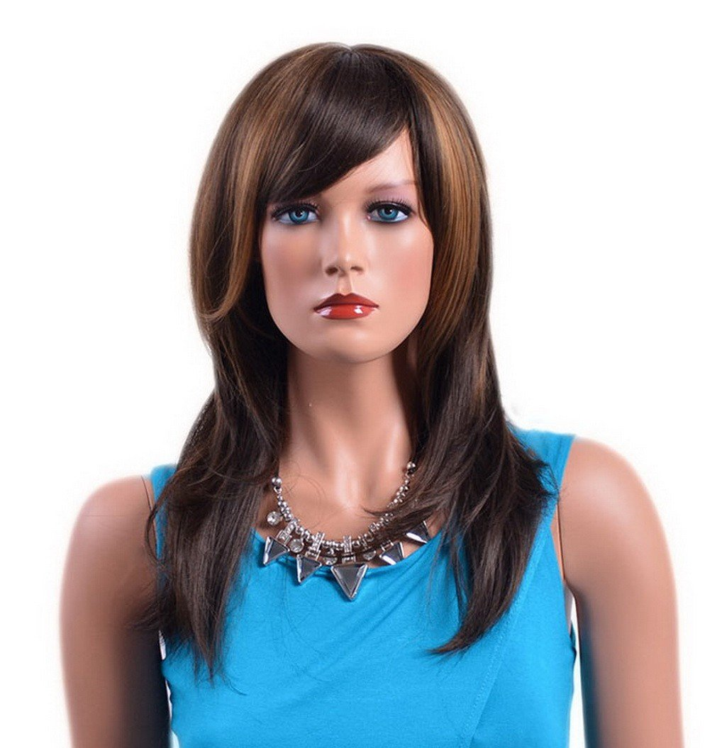Lady's Long Side Bangs Brown Gold Feather Hair Layered Straight Synthetic Wig A.Monamour WBN0047-AMA