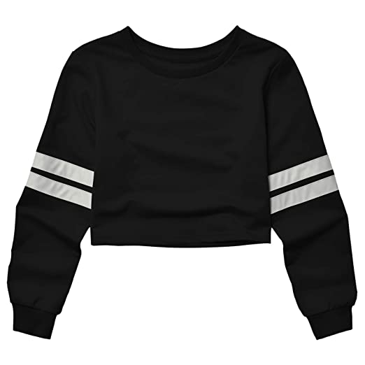 52476ec3809808 Crop Sweatshirts for Teens Girls 80s 90s Cropped Tops for Women Long Sleeve