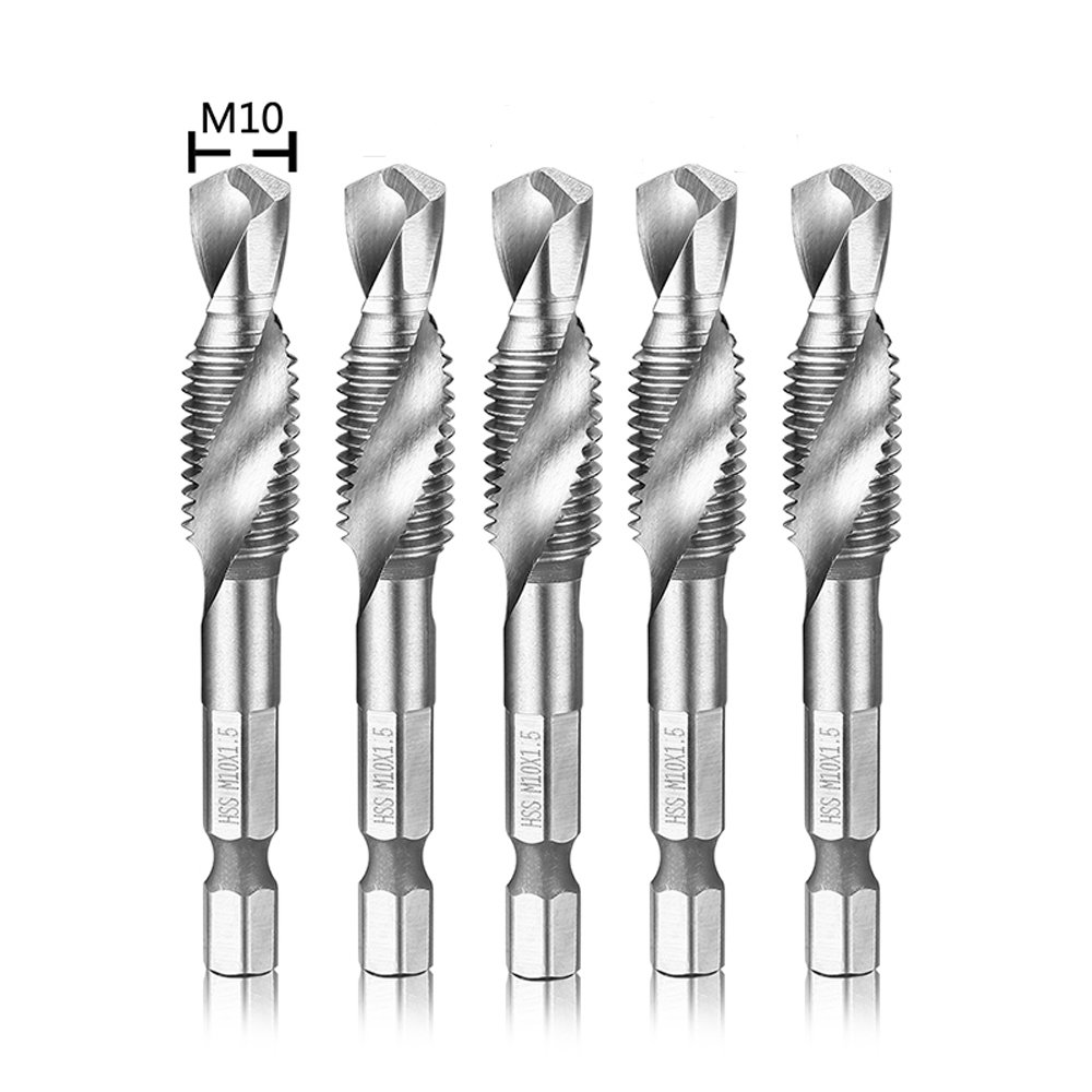 """Migiwata M6 x 1.0 Metric HSS 4341 Combination Drill and Tap Bit Set of 5pcs with 1/4"""" Hex Shank and Self-centering Split Point for Tapping in Wood Plastic and Aluminum"""