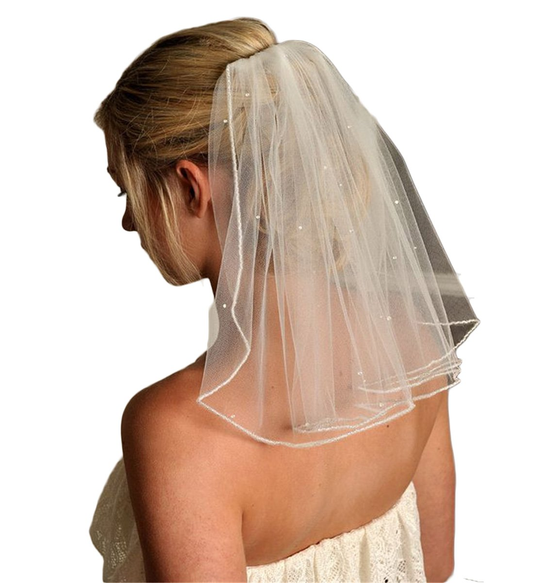 Veilbridal Short Single Tier Bridal Wedding Veils With Beads First Communion Veils (Ivory)