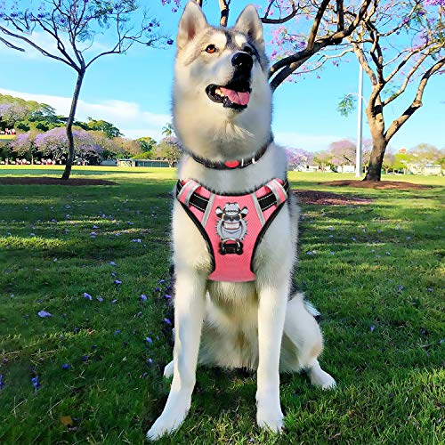 BABYLTRL Large Dog Harness No Pull Anti-Tear Adjustable Pet Reflective Oxford Soft Vest for Large Dogs Easy Control Harness (Dog Collar Included) (L, Pink)