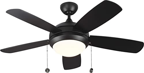 Monte Carlo 5DIC44BKD-V1 Discus Classic II 44 Ceiling Fan with LED Light and Pull Chain, 5 Blades, Matte Black