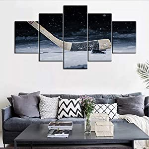 Picture of Hockey Prints on Canvas Hockey Stick and Puck on The Ice Rink Painting Splashing Snow Around 5 Panel Wall Art Home Decor for Bedroom Artwork Framed to Hang Poster and Print(60''Wx32''H)