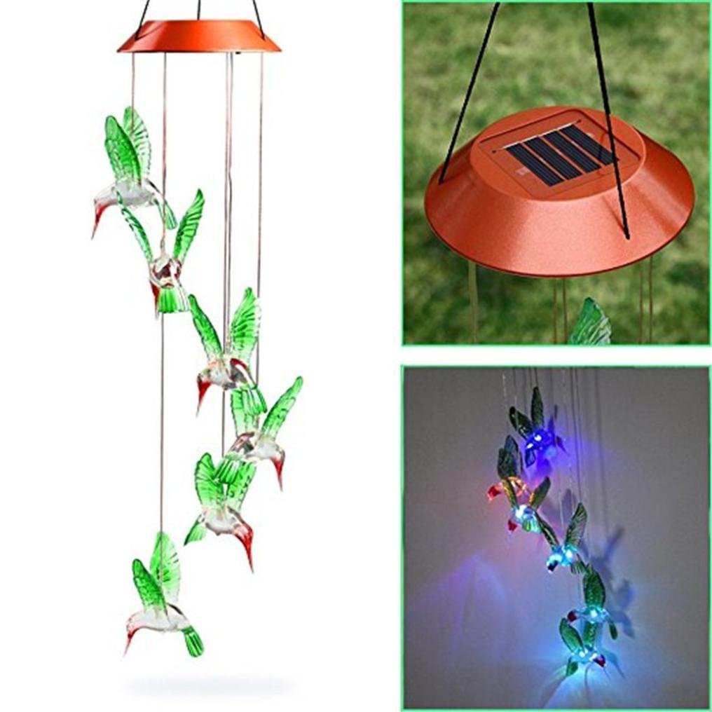 Hunpta Color Changing LED Solar Wind Chime Hummingbird Wind for Gardening Lighting (Colorful)