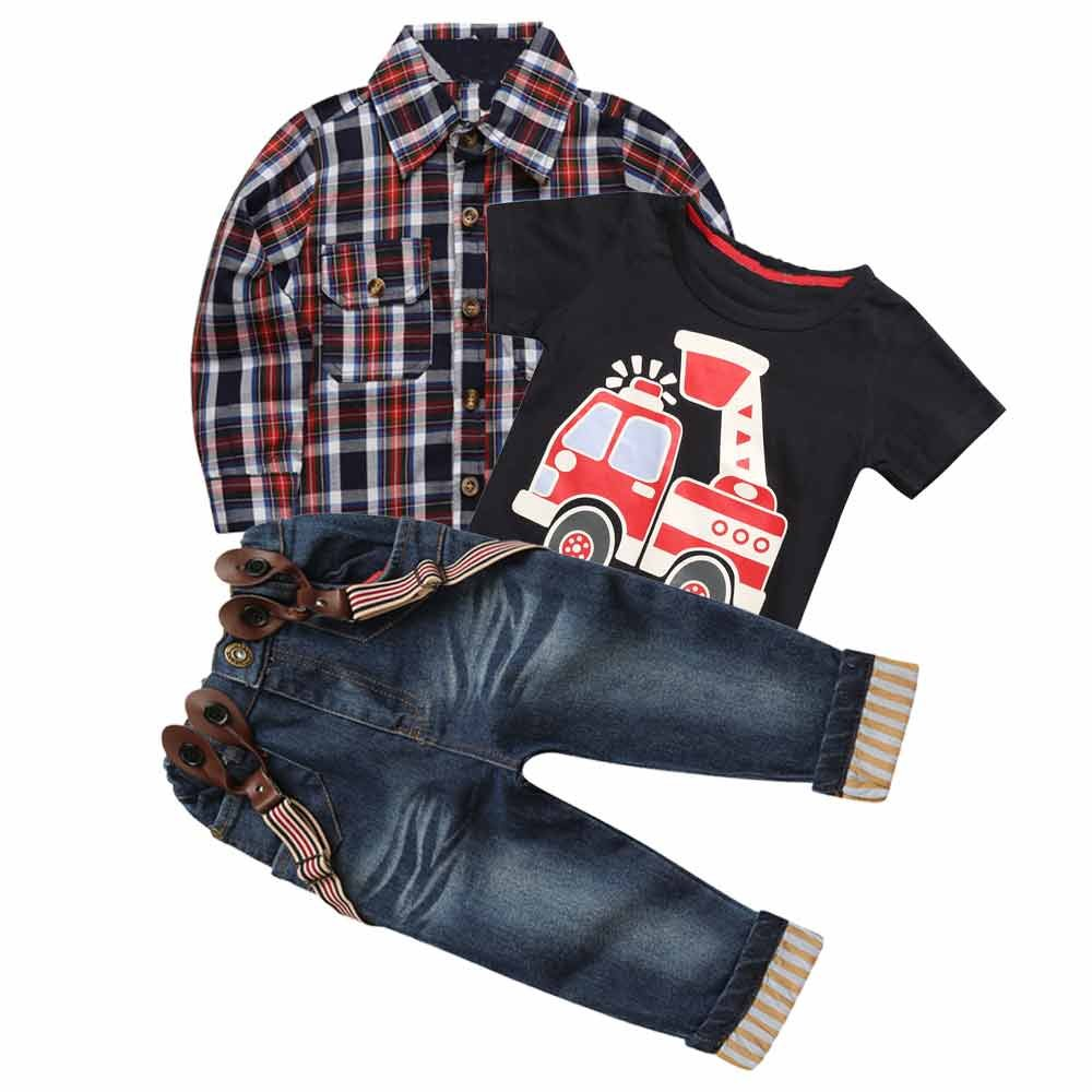 3Pcs Summer Fall Boy Plaid Handsome Coat + T-shirt + Suspender Jean Sets