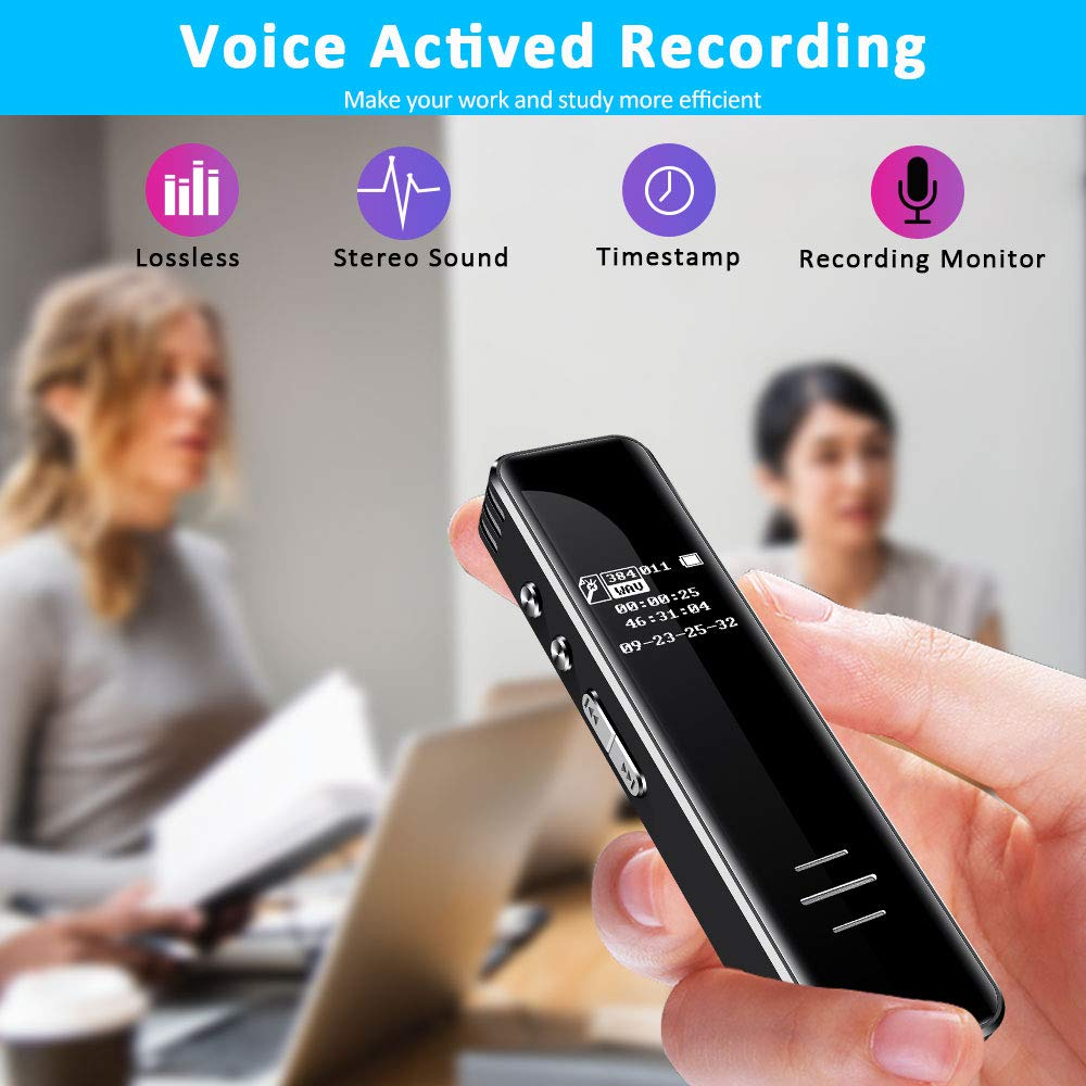 Digital Voice Recorder, 16GB Voice Activated Recorder with Playback, HD Sound Audio Tape Recorder Dictaphone Recording Device, Mini MP3 Player for Lectures, Meetings, Class, Interviews