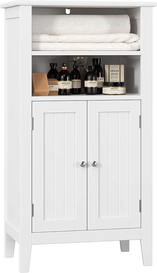 Homfa Bathroom Floor Cabinet Wooden Storage Organizer with Double Doors  Adjustable Shelf Free Standing Kitchen Cupboard for Home Office, 19.6L x  11.8W ...