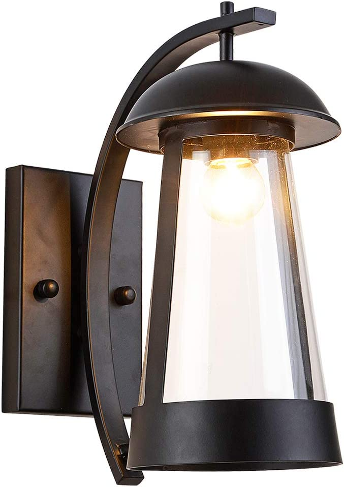 Outdoor Exterior Waterproof Wall Lantern Light Fixture Mount Sconce Down Light Black Finish with Clear Glass Shade Outside Wall Lights for Entryways, Yards, Front Porch