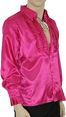 FOXXEO Camisa Rosa para Hombres con Volantes de Estrella del Pop Discoteca Camisa Rosa para Carnaval Carnaval Fiesta Disfraz, Talla L: Amazon.es: Juguetes y juegos