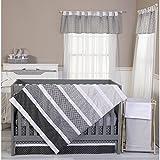 3 Piece Grey White Black Baby Colorful Crib Bedding Set, Newborn Nursery Bed Set Infant Child Diamond Patches Gray Pinstripes Chevron Stripes Polka Dot Pattern Reversible Blanket Quilt, Cotton
