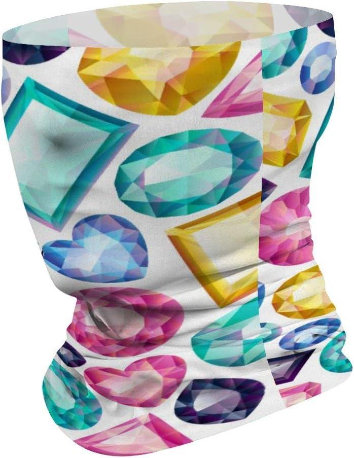 Neck Gaiter Tube Mask Balaclavas Headwear Motorcycle Face Mask for Women Men Face Scarf BLESFEST Chic Girly Shiny Diamond Gemstones Multifunctional Bandana for Rave Face Mask Dust Wind UV Sun