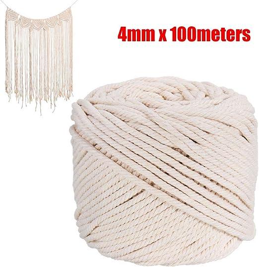Cuerda trenzada de algodón de macramé natural de 4 mm x 100 m, para manualidades: Amazon.es: Hogar