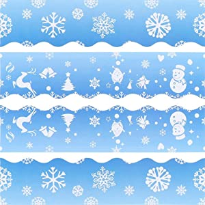 Xgood 70 Sheets Snowflake Borders Snowflake Bulletin Borders Christmas Winter Snow Bulletin Board Borders Stickers Board Borders Decorations for Holiday Party Chalkboard Decor Supplies,2 Patterns