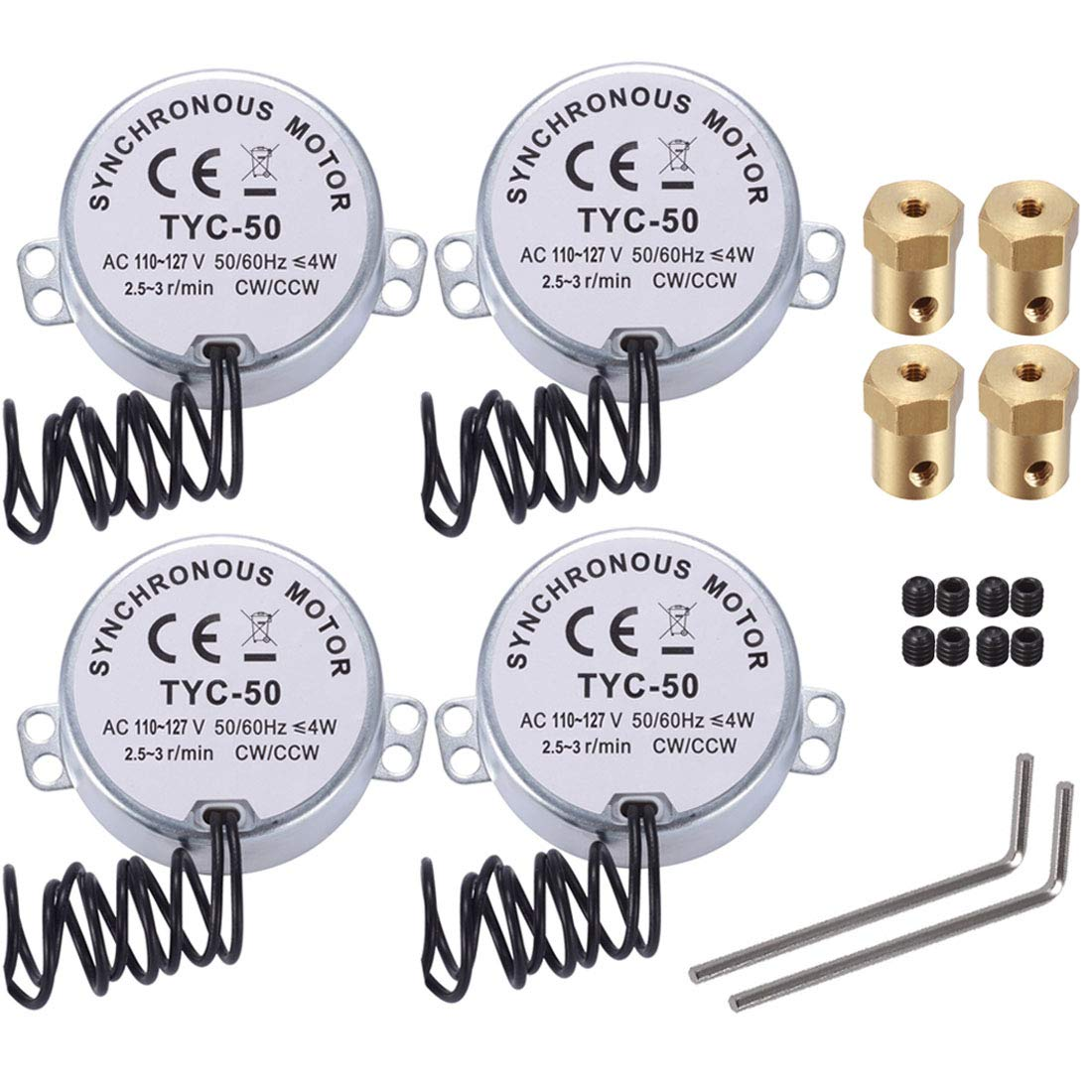 4 Pcs 2.5/3 RPM Electric Synchronous Synchron turntable Motor with 7mm Flexible Coupling Connector - AC 100V~127V 50/60Hz for Cup Turner, Turner Cup Rotator, Cuptisserie & Microwave Oven