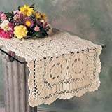 TCC Handmade Crochet Lace Runner. 100% Cotton Crochet. Ecru, 16 Inch X54 Inch Oblong. One piece