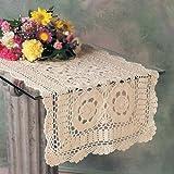 Handmade Crochet Lace Runner. 100% Cotton Crochet. White, 16 Inch X72 Inch Oblong. One piece .