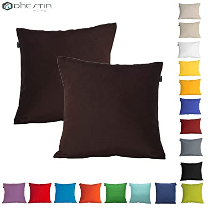 Cojines Sofa Chocolate.Dhestia Pack X 2 Fundas Cojines Decoracion Sofa Y Cama 45x45 Cm Loneta Colores Marron Chocolate Brown 45 X 45 Cm