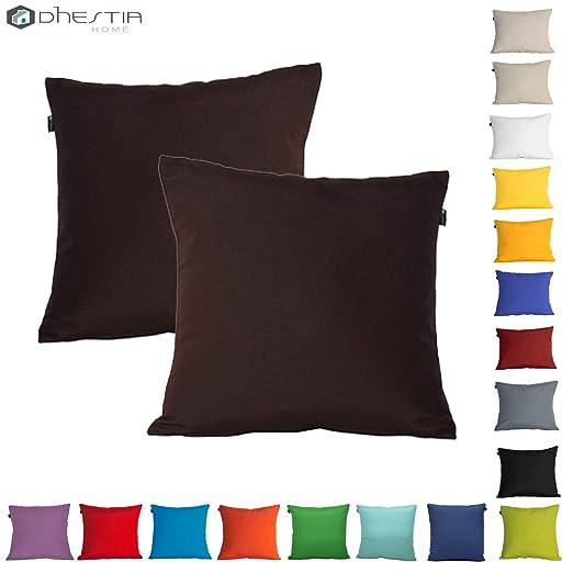 Dhestia Pack X 2 Fundas Cojines Decoración Sofá Y Cama 45X45 Cm Loneta Colores (Marrón Chocolate Brown), 45 X 45 Cm