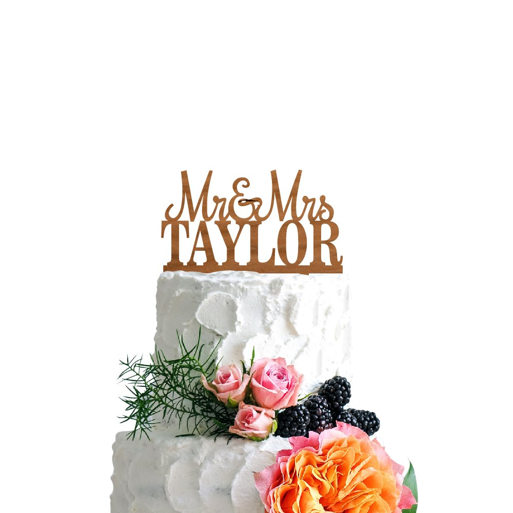 P Lab Personalized Cake Topper Mr. Mrs. Last Name Custom Wedding Cake Topper Rustic Wood Decoration Keepsake Engagement Favors for Special Event Cherry Wood