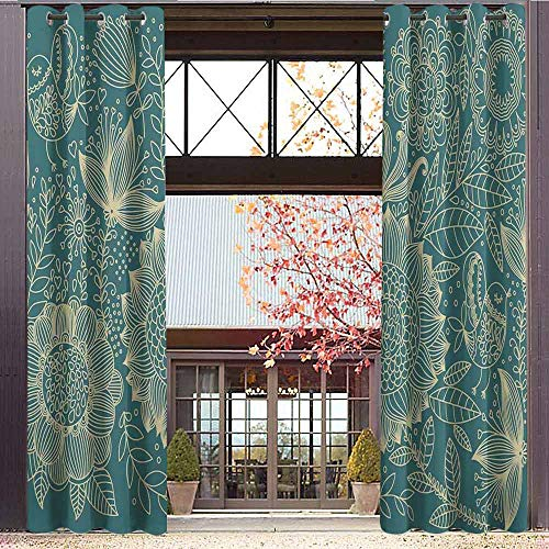 Silk Inspired Top Peace (hengshu Garden Room Darkened Insulation Grommet Curtain Nostalgic Nature Inspired Hand Drawn Style Flower Motifs Herbs Leaves Foliage Living Room W84 x L72 Inch Teal and Ivory)