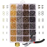 Iron Open Jump Rings 3142pcs/box Jewelry Findings Set Open Jump Rings Lobster Clasps Open Ring with Bent Chain Plier for Jewelry Making Kit