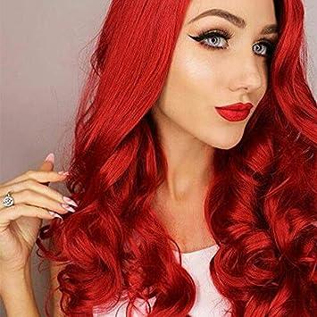 wig Peluca Sintética del Pelo del Frente del Cordón De La Densidad 180% Peluca Roja