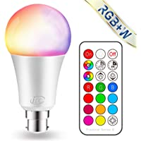 iLC Colour Changing Light Bulb Dimmable 10W B22 Bayonet RGBW LED Light Bulbs - 12 Color Choices - Remote Controller Included for Home/Decoration/Bar/Party/KTV Mood Ambiance Lighting