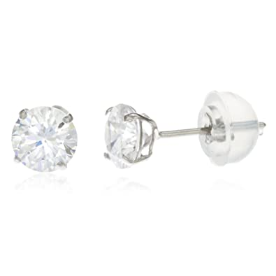 5f0536886 Amazon.com: 14k White Gold Round Basket Setting Cz Stud Earrings with Silicone  Back (3 Mi.: Jewelry