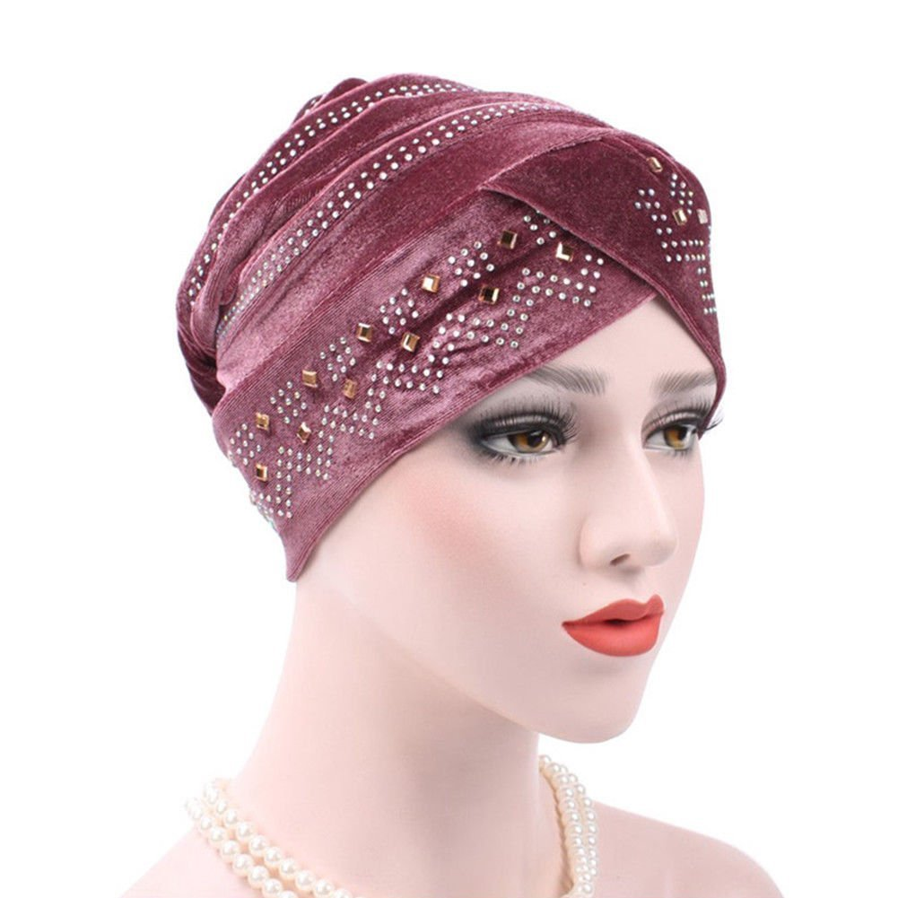Costume Headwear & Hats HJG - Cap Turban Hat Winter Rhinestones Warm Women Velvet Beanie Perfect for Travel. (Cameo Brown)