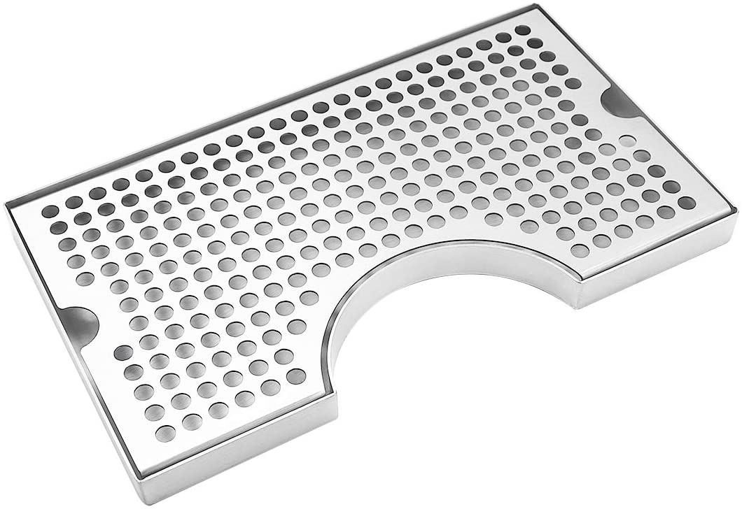 Barworks Kegerator Beer Drip Trays, Stainless Steel Keg Drip Tray with Non-Slip Rubber Pad, Premium Metal Beer Tower Drip Pan for Home Bar Mini Fridge without Drain