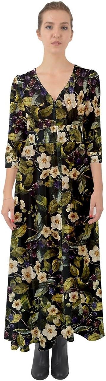 CowCow Womens Vintage Floral Flowy Aztec Party Deep V Button Up Boho Maxi Dress,XS-3XL