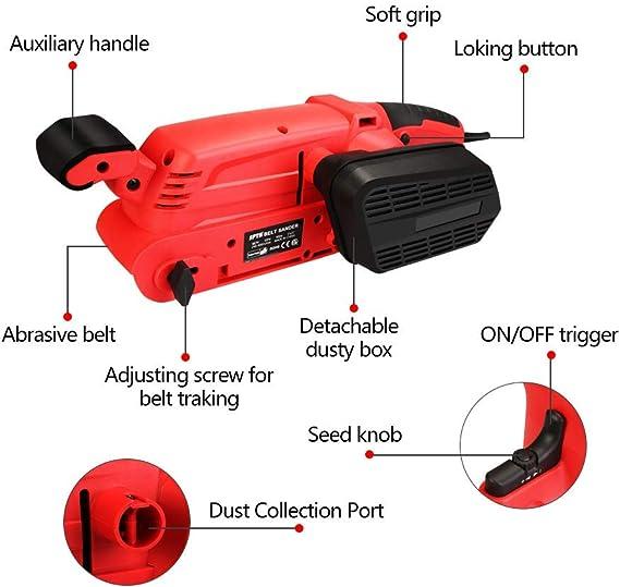 SPTA Lijadora 900 W, 75 mm, lijadora con 15 unidades de papel de lija (75 x 457 mm), lijadora de 6 velocidades (360-560RPM) con 2 adaptadores de aspiradora y 2 abrazaderas de tornillo (900W): Amazon.es: Bricolaje y herramientas