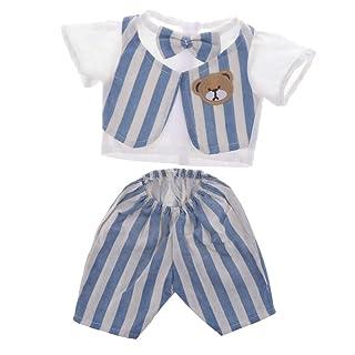 MagiDeal Vestiti Maglietta Camicia Corta Pantaloni A Righe Abbigliamenti da Doll Bambola