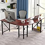 "Large L-Shaped Desk, LITTLE TREE 67"" Modern Corner Computer Desk Study Workstation Gaming Table with Shelves for Home Office, Wood & Metal, Cherry"