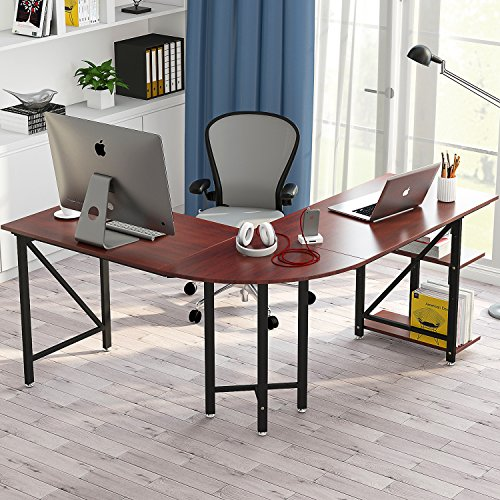 "Large L-Shaped Desk, LITTLE TREE 67"" Modern Corner Computer Desk Study Workstation Gaming Table with Shelves for Home Office, Wood & Metal, Cherry by Little Tree"