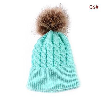 ac9622000dc oenbopo 2PCS Parent-Child Hat Warmer Mother   Baby Daughter Son Winter Warm Knit  Hat Family Crochet Beanie Ski Cap (Lake Blue)  Amazon.co.uk  Clothing