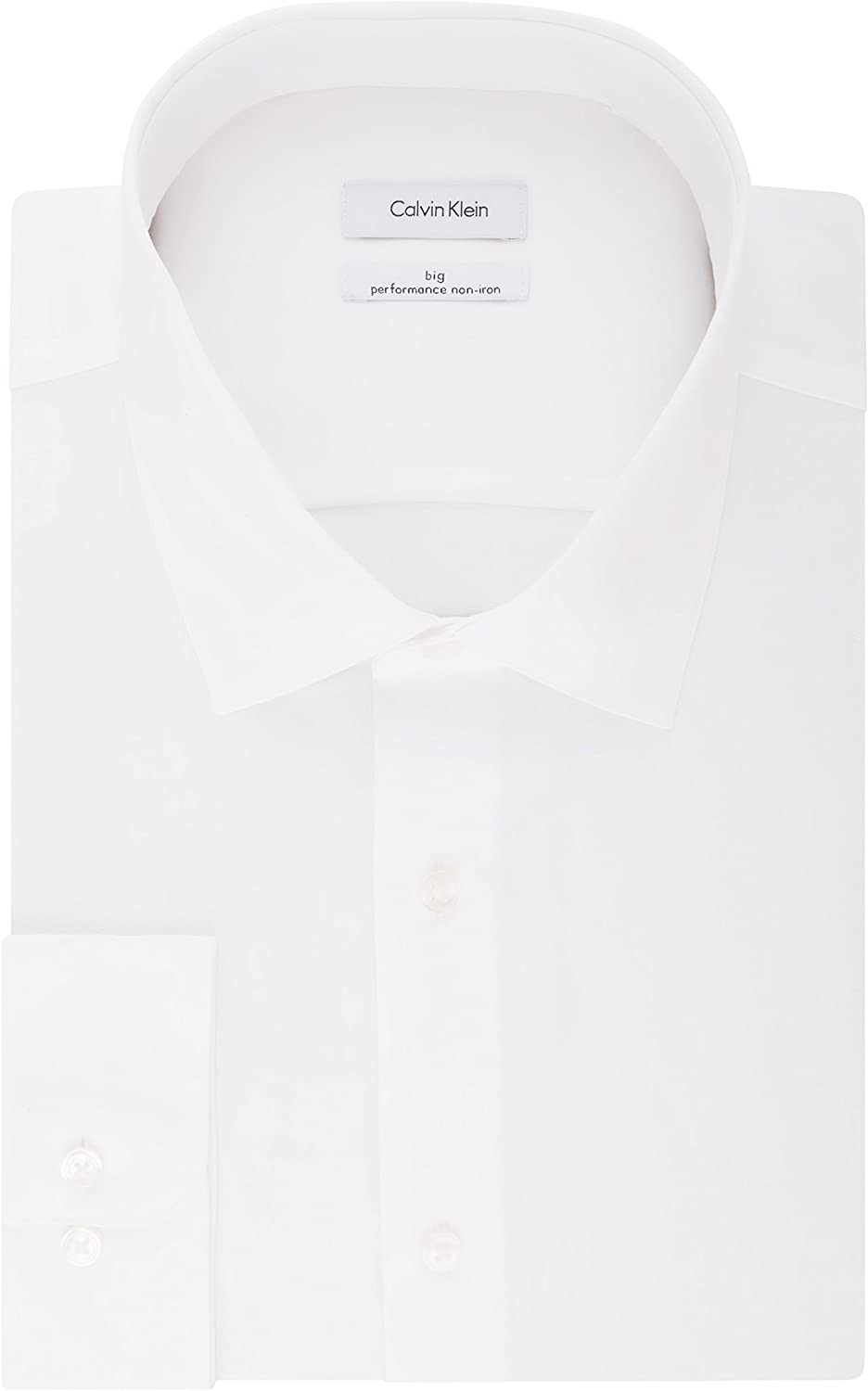 Calvin Klein Men's Big and Tall Dress Shirts Non Iron Herringbone Solid: Clothing